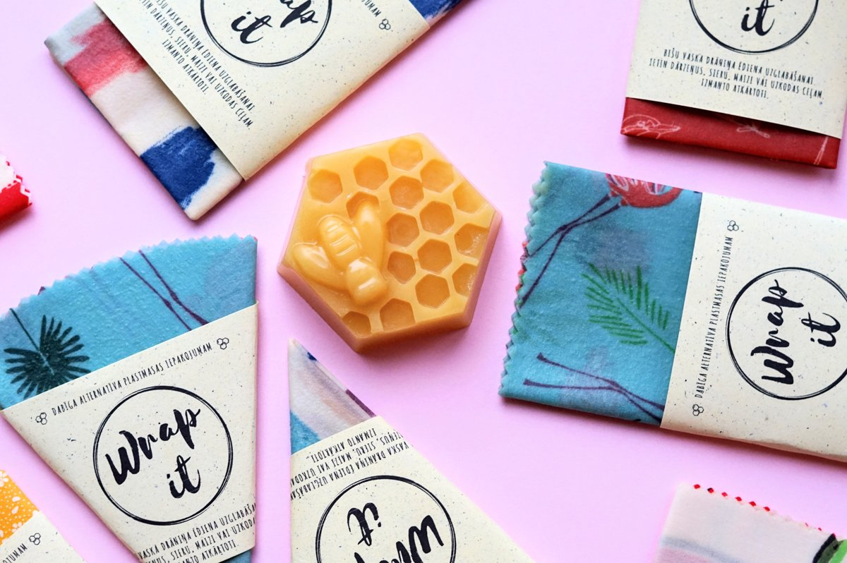 wrap it wrapper bišu vaska drāniņas lupatiņas beeswax wraps bee in